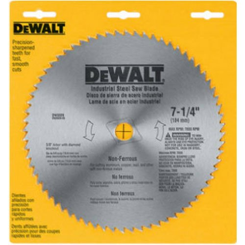 "DEWALT 7-1/4"" Circular Saw Blade, Metal Cutting, 5/8-Inch and Diamond Knockout Arbor, 68-Tooth (DW3329)"