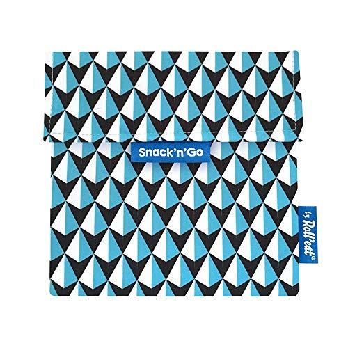 Roll'eat Snack'n'Go – Snackbeutel   wiederverwendbarer, ökologische Lunchbox, BPA frei, leicht zu reinigender Snackbag - Motiv: Tiles Dreiecke, Farbe: blau, 18 x 18cm