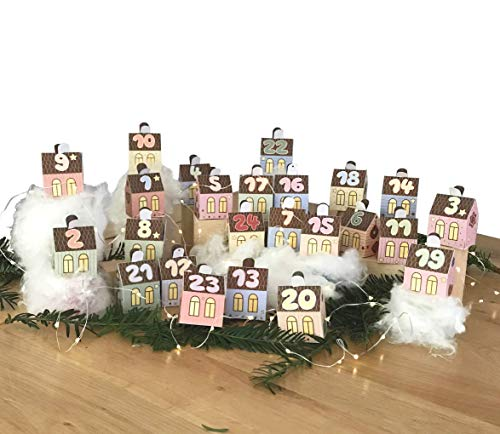 Adventskalender Kalender, Kalenderdorf Dorf mit 24 kleinen Häuschen. Zum Falten und befüllen.