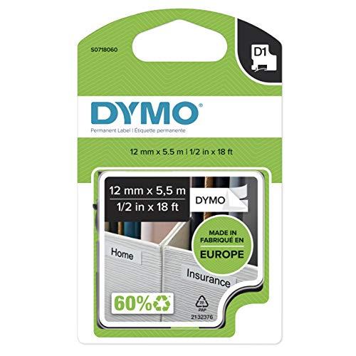 Dymo D1 Cintas Permanentes para Impresoras LabelManager, Rollo de 12 mmx5.5 m, Impresión Negro y Blanco