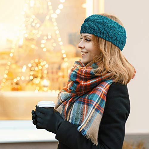 6 Pieces Winter Headbands Women s Cable Knitted Headbands, Winter Chunky Ear Warmers Suitable for Daily Wear and Sport, 21 x 11 cm, Red, Camel, Medium Gray, Turquoise, Beige, Brown