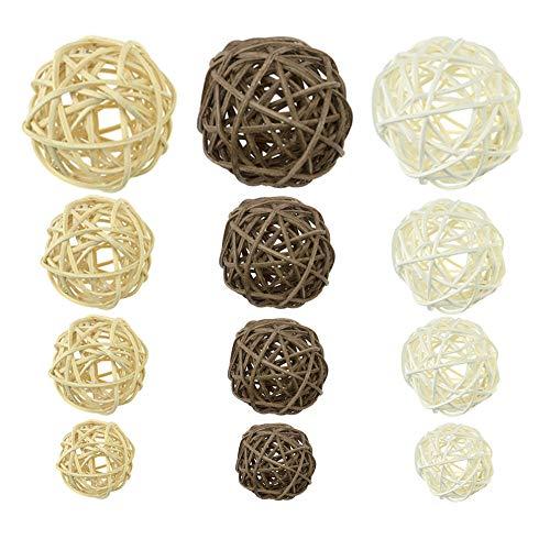 Anyasen Bolas de Mimbre 21 Piezas Bolas de ratán Bolas de Mimbre Ratán Decorativas Bolas Ratán Natural Artesanía para Decoración del Hogar Artesanía (3 Colores)