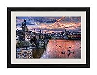芸術品印刷黒い木枠ポスター家の装飾の絵画(チェコ、プラハ、都市、橋、川、夕方、家、雲)30x40cm