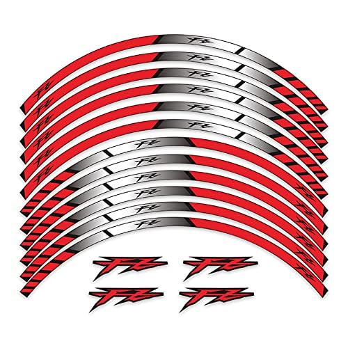 Wfrspavey Pegatinas de la Rueda Trasera Delantera de la Motocicleta Pegatina Reflectante en la decoración del hub de la Rueda Compatible con YA*MA*HA FZ FZ6 FZ07 FZ09 FZ1 FZ25 hnyxs (Color : Red)