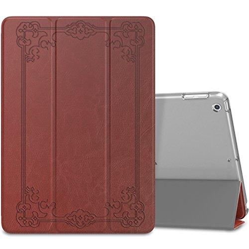 MoKo Funda para 2018/2017 iPad 9.7 6th/5th Generation - Ultra Slim Función de Soporte Protectora Plegable Smart Cover Trasera Transparente Durable - Estilo Vintage (Auto Sueño/Estela)