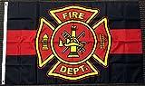 Rot und Schwarz Feuerwehr Flagge Fahne 90x150 cm Polyester Feuerwehrmann