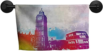 alisoso London,Shower Towel Historical Big Ben and Bus Great Bell Clock Tower UK Europe Street Landmark Absorbent and Super Soft Towels W 24