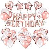 Rorchio Palloncini Compleanno in Oro Rosa Festone di Palloncini per Compleanno, Palloncini Happy Birthday Palloncini coriandoli Palloncini Lattice Oro Rosa Palloncini Bianchi