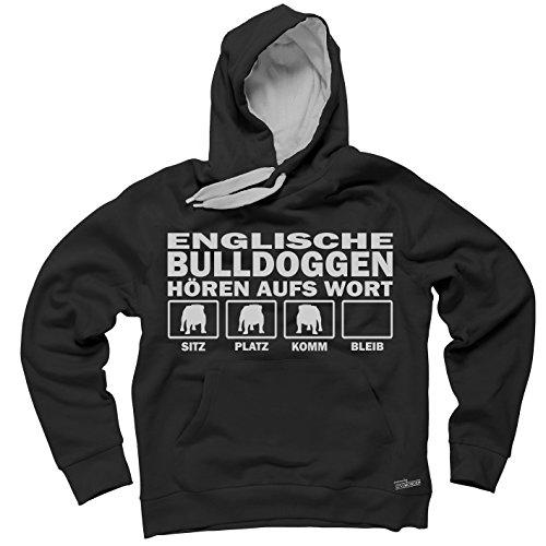 Siviwonder Unisex Kapuzen Sweatshirt ENGLISCHE Bulldogge Hunde Hören Aufs Wort schwarz - hellgrau XL