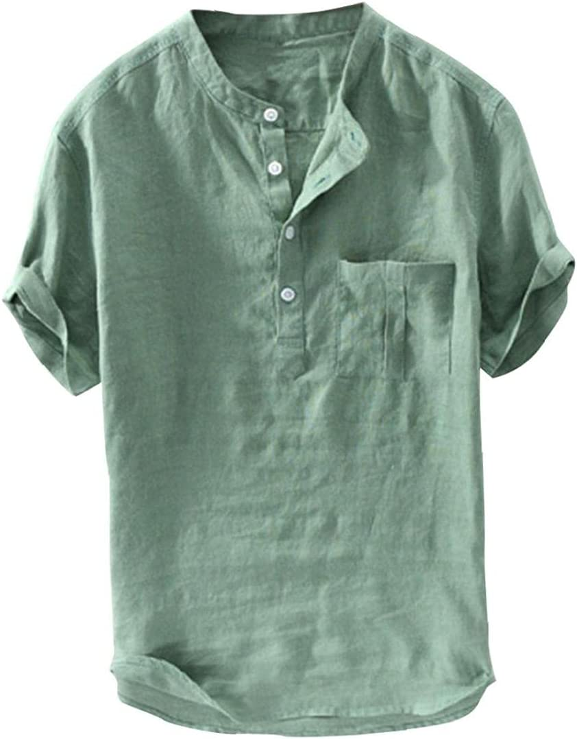 Runfon Los Hombres de algodón de Lino Camisas Suelta de Manga Corta Tops Botón de Verano Camisas con 2XL Verde de Bolsillo