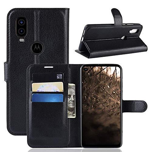 Capa Capinha Carteira 360 Para Motorola Moto One Vision Com Tela De 6.3Polegadas Case Couro Sintético Flip Wallet Para Cartão - Danet (Preta)