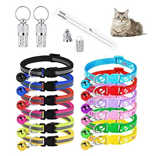 AUXSOUL 12 Pezzi Collare Gatto Antistrozzo per Gattini Piccoli Collare Gatto Personalizzato Collare per Gatti Collarino Gatto Collare Gatto con Targhetta(17-32CM)