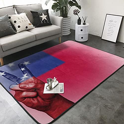 MGBWAPS Teppich mit Samoa-Flagge, maschinenwaschbar, rutschfest, weich, für den Innenbereich, großer Teppich, für Wohnzimmer, Schlafzimmer, Waschküche, 150 x 200 cm