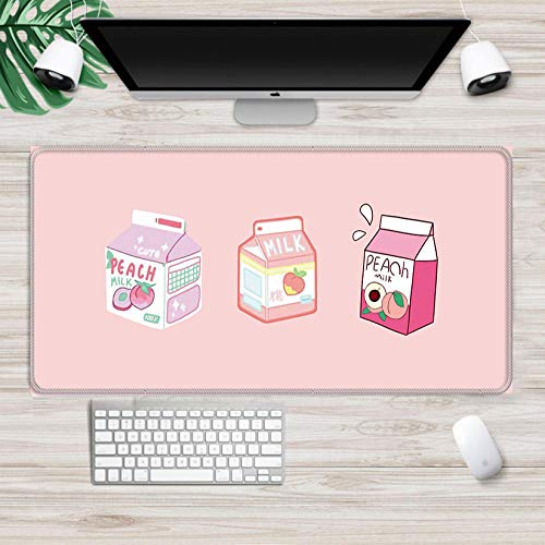 Gaming Mouse pad Milk Pink Strawberry Peach Kawaii Mouse Pad XXL Mouse Pad Laptop Desk Pad Pc Gamer Mouse Pad 2XL(40x90cm)
