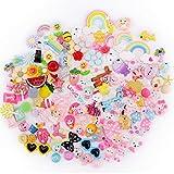 Scoolr 120 x Schleim-Charms für Schleim, verschiedene Früchte, Süßigkeiten, flache Rückseite, Kunstharz, Cabochons für Bastelarbeiten, Ornamente, Scrapbooking, DIY