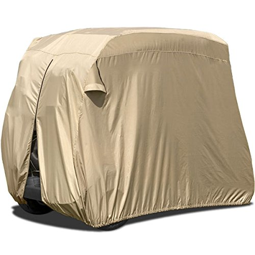 North East Harbor Waterproof Superior Beige Golf Cart Cover Covers Compatible with Club Car, EZGO, Yamaha, Fits Most Two-Person Golf Carts