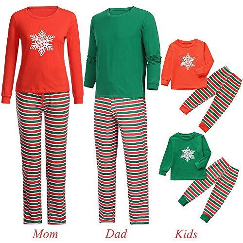 Jaysis Jaysis Mami & Ich & Daddy Cartoon Schneeflocke Top + Streifen Hose Familie Kleidung Pyjamas Weihnachten, Eltern-Kind Familie Outfits Geschenke