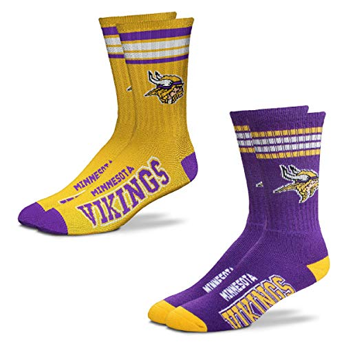 FBF Originals - NFL 4 Stripe Deuce Crew Socks Home & Away - 2 Pack (Minnesota Vikings, Large 10-13)