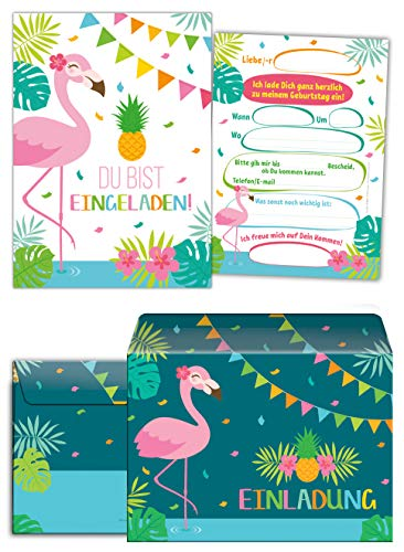 Junaversum 12 Einladungskarten incl. 12 Umschläge zum Kindergeburtstag Mädchen Flamingo Einladungen Geburtstag Kinder Mädchengeburtstag