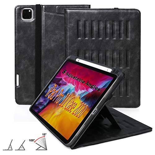 Case for New iPad Pro 11 Inch 2nd & 1st Generation 2020/2018 Release, [8 Viewing Angles] Strong Magnetic Cover with Pencil Holder, Support 2nd Gen iPad Pencil Wireless Charging, Black