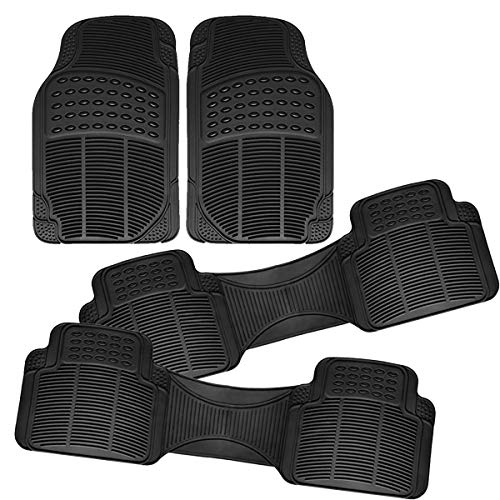VaygWay Car SUV Floor Mat – 4 Piece Heavy Duty Set – 3 Row Vehicle All Weather – Black Trimmable Rubber Floor Mats
