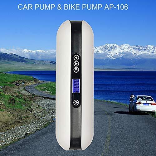 Pompa per bicicletta, mini compressore elettrico per gonfiaggio dell'aria, (White)