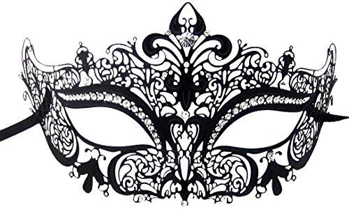 Mysterious Black Laser Cut Mardi Gras Masquerade Metal Mask w/Clear Diamonds