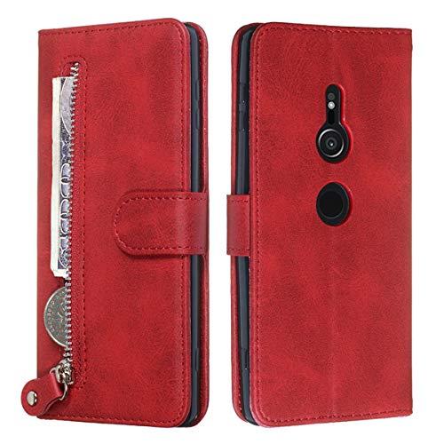 YINCANG Capa para Sony Xperia XZ3, couro PU macio, fecho magnético, carteira com zíper e suporte para cartão, capa protetora para Sony Xperia XZ3 6 polegadas vermelha