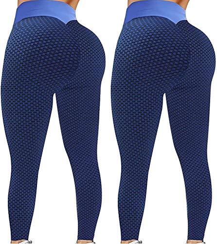 Paquete de 2 leggings TIK Tok, leggings de cintura alta para levantamiento de glúteos para mujer, pantalones de yoga para mujer, mallas de entrenamiento con burbujas, Azul & Azul,...