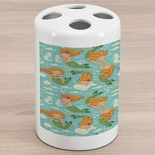 Ambesonne Underwater Ceramic Toothbrush Holder, Underwater World Little Mermaid Girls Friends Seahorse Fish Shells, Decorative Versatile Countertop for Bathroom, 4.5' X 2.7', Turquoise Marigold Green
