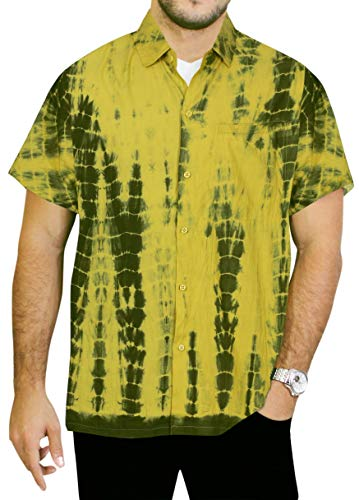 LA LEELA Mannen toets gedrukt strand shirt korte mouwen kraag voorzak tie dye zachte viscose regular fit Hawaiihemd