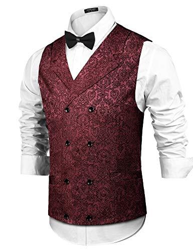 COOFANDY Herren Viktorianische Weste Steampunk Zweireiher Anzug Weste Slim Fit Brokat Paisley Blumenweste,Rotwein,M