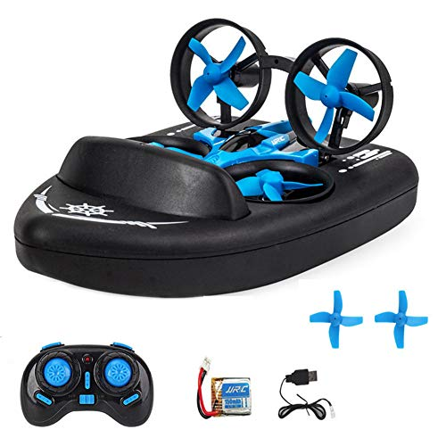 Mini Drone for Kids Remote Control Boats for Pools and Lakes RC Car 3 in 1 Sea Land Air Mode Switchable Waterproof Hovercraft Toy RC Quadcopter