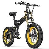 X3000plus-UP Bicicleta de Nieve de 20 Pulgadas con neumáticos Gruesos y 4.0, Bicicleta montaña Plegable, Horquilla Delantera Mejorada (Black Grey, 17.5Ah + 1 batería Repuesto)
