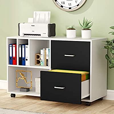 Tribesigns 2-Drawer Lateral File Cabinets Legal Size, Large Vintage Mobile Filing Cabinet Printer Stand with Wheels and Open Storage Shelves for Study, Home Office