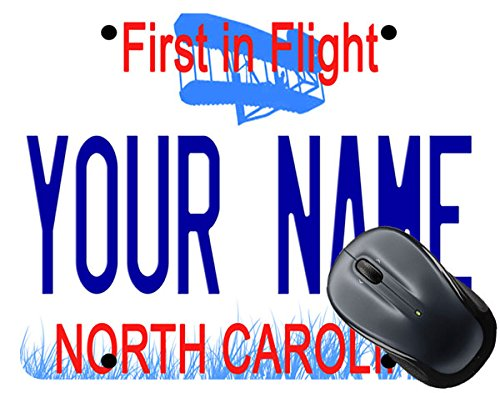 BleuReign(TM Personalized Custom Name North Carolina State License Plate Square Mouse Pad