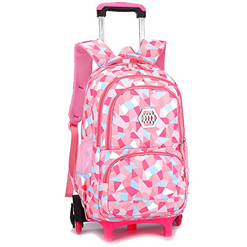 BOZEVON Kids Trolley Backpack - Backpacks for Girls School Bags Casual Daypacks Travel Trolley Backpack with Wheels, Pink,6 Wheels