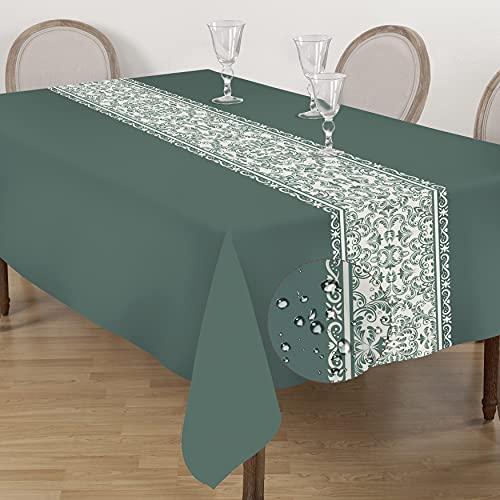 AELS Mantel impermeable de 152 x 211 cm, resistente al aceite, para mesas rectangulares, resistente a las manchas, lavable, tela de...