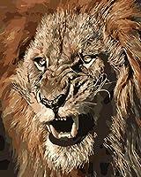DIY絵 デジタル 油絵 数字キット ギフ家の壁アート落書き装飾 40x50センチ フレームレス怒っているライオンキング