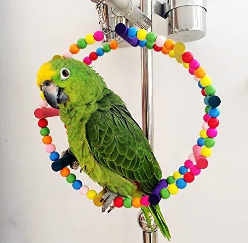 SunLSunLiHao Parrot Giocattolo Dell\'uccello Altalena Appesa Giocattolo Bird Cage Toy Parrot Chew Toy Arroccato su Hammock Campana Swing Scala, 22 Centimetri