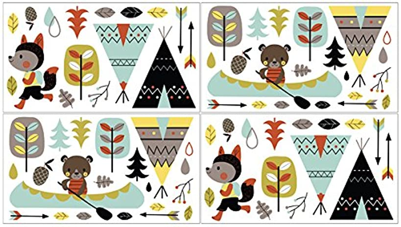 Sweet Jojo Designs Outdoor Adventure Nature Fox Bear Animals Boys Baby and Kids Peel and Stick Wall Decal Stickers Art Nursery Decor - Set of 4 Sheets
