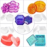 5 Pack Box Resin Molds, Silicone Jewelry Box Resin Casting Mold Set with Lid in Heart Hexagon Square Cylinder Flower Shape for Storing Earrings, Rings, Coins, Keys, Bracelets, Necklaces