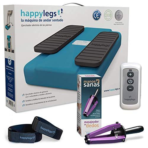 Oferta Pack Happylegs 2021 + Manos Sanas + Correas. Estimula tu circulación de piernas y Manos. La Máquina de Andar Sentado Que Ayuda a Mejorar la Circulación. ÚNICA Fabricada en España (Azul)
