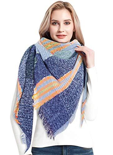 heekpek Bufandas Mujer Invierno Chales Cálido Moda Bufandas Largas de Invierno Chal Borla (azul)