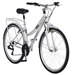 Schwinn suspension fork, alloy crank, city rise adjustable stem with back sweep handlebar 21-speed SRAM grip shifter and rear derailleur mean that pedaling up a hill is easier; Alloy twist shifter compatible 4 finger brake levers Promax alloy linear ...