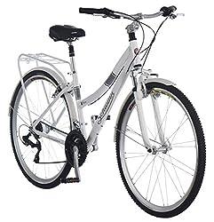 "top rated Schwinn Discover Hybrid Bike Men's  Women's 21 Speed 28 ″ 16 ""Wheels / Small Frames White 2021"