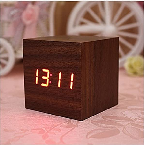 Lowpricenice Digital Square Cube Mini Brown Wood Red LED Light Alarm Clock With Time And Temperature Display Sound Control