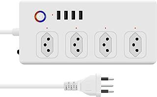 zemismart Alexa Tomada Inteligente Protetor Eletronico,Tuya Wi-Fi Filtro de Linha 4 Individuais Disjuntores 10A Plugue,4 T...