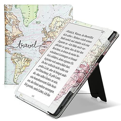 kwmobile Carcasa Compatible con Kobo Elipsa - Funda con Agarre elástico y Soporte - Mapa Mundial Negro/Multicolor
