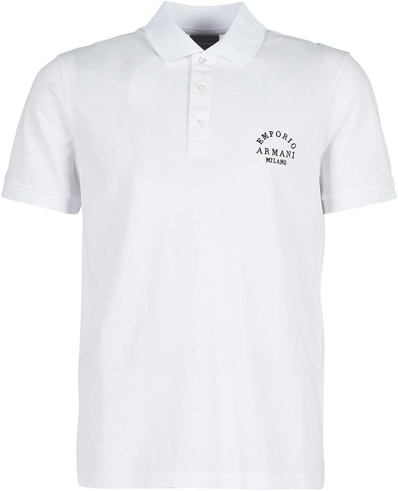 Emporio armani, polo da uomo, maglietta a maniche corte, 100% cotone, bianca 6G1FP1-1JJVZ-0100 T
